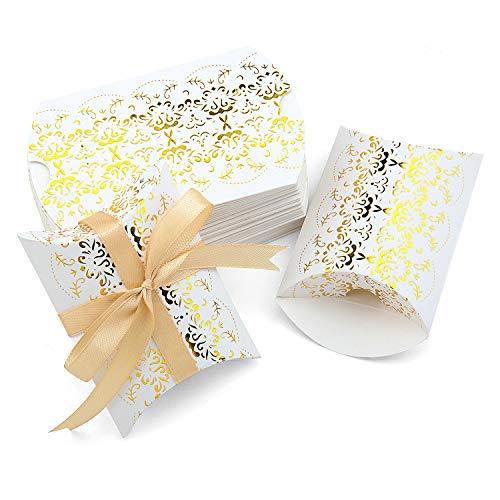 Vordas Welecoco Kissen-Form-Hochzeits-Geschenkboxen, Kissenschachtel, Kissenschachteln für Hochzeit, Geschenkbox Süßigkeiten Karton Schmuck Schachtel, mit Seil, 50 Stück Gold Print