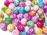 Juego de perlas de cristal de 4/6/8 mm, multicolor, redondas, juego de manualidades para hacer manualidades, efecto de piedras preciosas, mezcla de perlas, perlas para enhebrar (4 mm – 400 unidades)