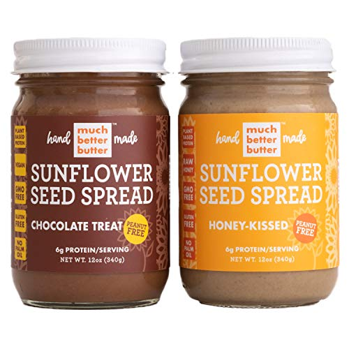 Sunflower Seed Butter | Healthy Delicious Natural Sunflower Seed Spread Made with Gluten Free Ingredients | Chocolate Treat | Honey Kissed | 12 oz Glass Jars | 2 pack