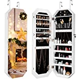 LANGRIA Jewelry Cabinet Organizer with Frameless Full Length Mirror, Lockable Eight Edged Jewelry Armoire with Spacious Storage, Wall Mounted or Door Hanging, White