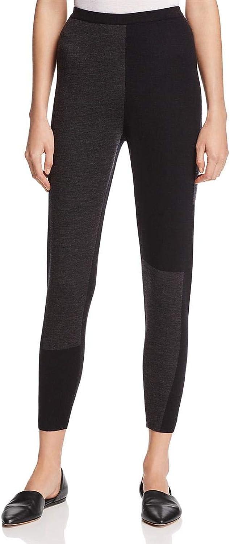 Eileen Fisher Womens Merino Wool colorblock Leggings Black S
