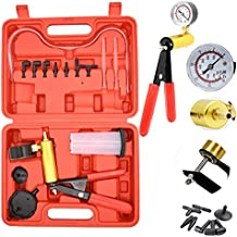 Hand Held Vacuum Pump Tester kit for Automotive with Sponge Protected Case,Adapters,One-Man Brake and Clutch Bleeding System(16pcs)