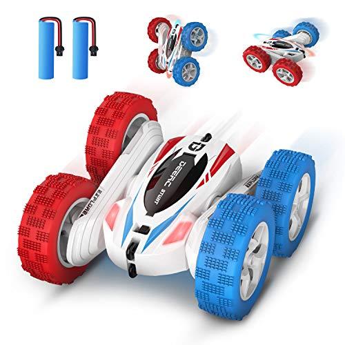 DEERC DE35 RC Ferngesteuertes Auto mit 2 Akkus für Kinder,Wiederaufladbar Stunt Auto Rennauto mit 2,4 Ghz Fernbedienung,High Speed,360°Flip Spielzeugauto Fahrzeug Outdoor und Indoor für Jungen Mädchen