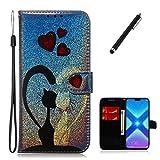 Beddouuk Bling Hülle für Samsung Galaxy S7,3D Liebes-Katze Premium PU Leder Brieftasche mit Ständer Funktion Magnetverschluss Kartenslots Tasche Case Etui Schutzhülle für Galaxy S7