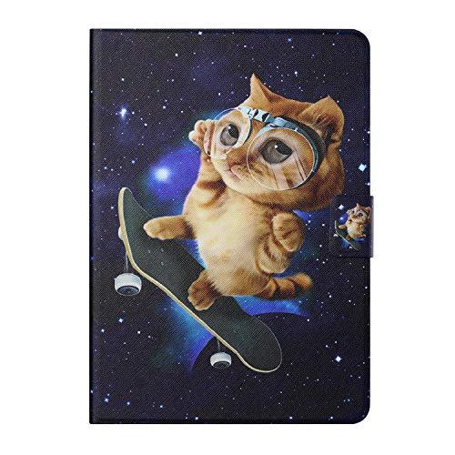 CaseFun Hülle für Samsung Galaxy Tab A7 2020 10,4 Zoll (SM-T500 / T505 / T507) Tablet-Lederschutz Folio Magnetic Auto Sleep Wake Schlank Leichtgewicht mit Flip Stand Kartenhalter (Skateboard-Katze)