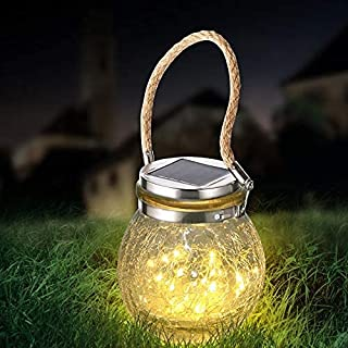 Solar Hanging Lanterns Outdoor Waterproof, Table Lamps Decorative Cracked Glass Jar 20 LED Lights for Garden Tree Court Ya...