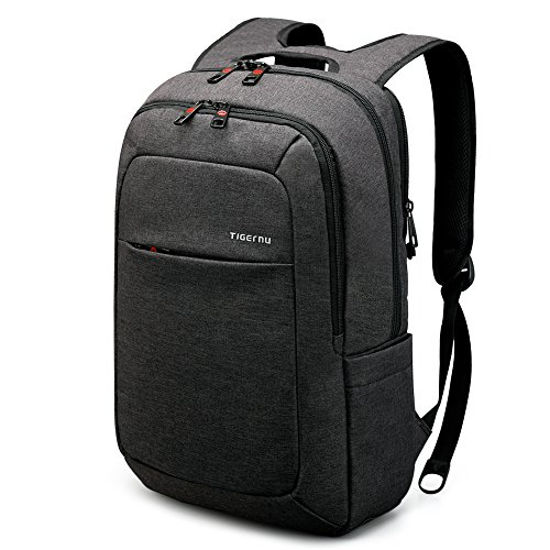 TIGERNU Slim Acolchado ergonómico Bolsa de Ordenador portátil Bolsa Mochila para portátiles y notebooks de hasta 15Pulgadas (Negro/Gris)