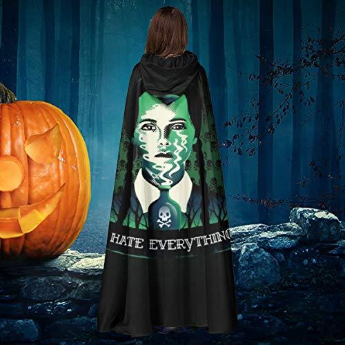 AISFGBJ Addams - Disfraz de Bruja con Capucha para Disfraz de Vampiro con Capucha, Unisex, diseño de Addams de Miércoles Addams I Hate Everyer.