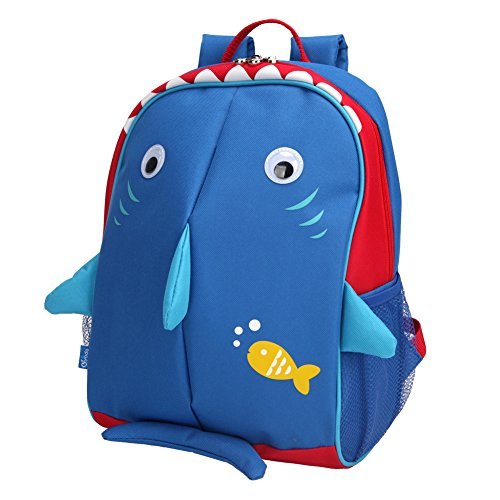 Yodo Little Kids School Bag Pre-K Toddler Backpack - Reflective Fins, Name Tag and Chest Strap, Shark