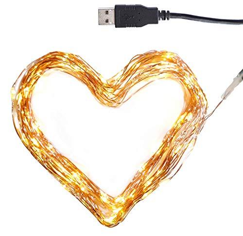CLAUSS LED-Mini-Lichterkette, USB-Anschluss, 100 LEDs, warmweiß (2700-2900K), 10 m, Kupfer-Draht, Innen, 5 Volt
