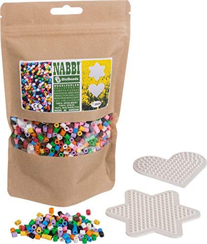 Nabbi Bio Bügelperlen, Ø 5 x H 5 mm, 2.500 Stk, 10 Farben Mix, 2 Legeplatten