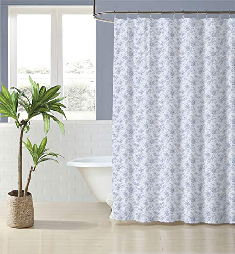Laura Ashley Home   Walled Garden Collection   Shower Curtain-100% Cotton, Buttonhole Top, Machine Washable Easy Care, 72 x 72, Blue