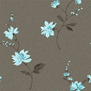 Ideco Chocolate / Teal - 922020 - Japanese Orchid - Floral - Wallpaper
