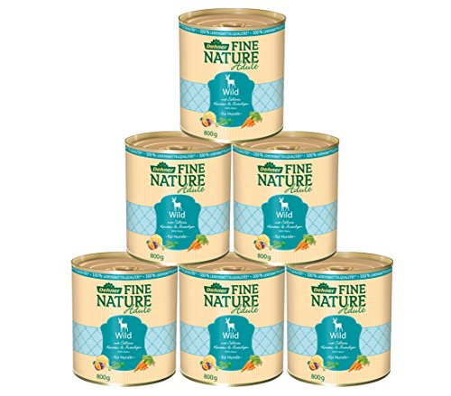 Dehner Fine Nature Hundefutter Adult, Lebensmittelqualität, Wild, 6 x 800 g (4,8 g)