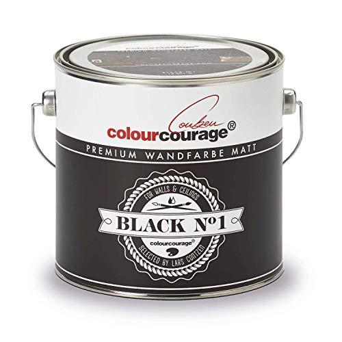 colourcourage® Premium Wandfarbe Black Nr.1, Innenfarbe, schwarz, 2.5L
