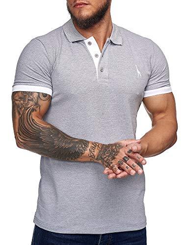 OneRedox T Shirt Herren Tshirt Tee T-Shirt für Männer Polo Poloshirt Basic Shirt Hoodie Shortsleeve Kurzarm Sweatshirt Sport Oberteil Muscle Shirt Modell 1404C1 (M, Grau)