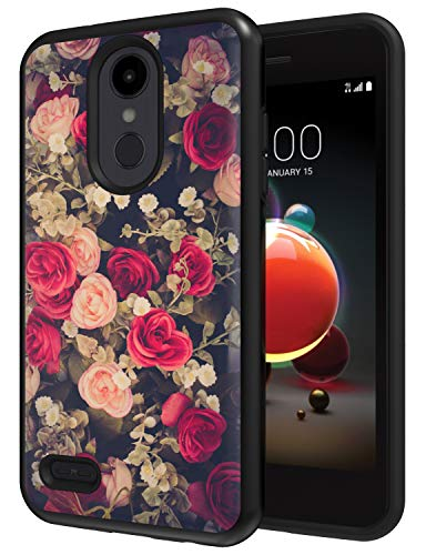 Floral Designed for LG Rebel 4 LTE Phone Case, Drop Protection Hybrid Dual Layer Armor Protective Case for LG Tribute Empire/LG Phoenix 4 / LG Aristo 3 Flowers Black