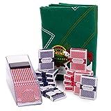 Blackjack Essentials Set – Includes Green Blackjack Tabletop Felt Mat, Blackjack Dealer Shoe + Discard Tray...