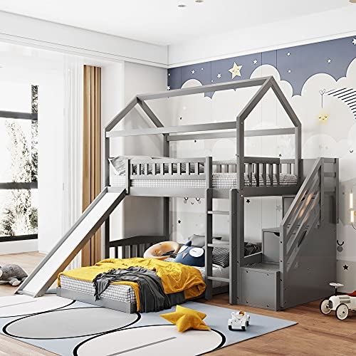 Twin Over Twin Bunk Beds with Slide and Storage Steps, Bunk Bed for Kids Toddlers, Playhouse Farmhouse Roof Guardrail Ladder 2 Drawers, for Girls/Boys, No Spring Box Required (Gray+Storage Steps)