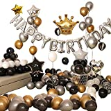 Ponmoo Golden Birthday Party Decoration Balloons 99pcs, Happy Birthday Banner Silver Party Decor Birthday Set for Men Boy Party Supplies Balloons
