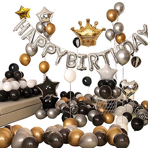 Ponmoo Dekoration Geburtstag Luftballons Schwarzgold Silber 99pcs, Golden Folienballon Deko Ballons Geburtstag Junge Männer, Schwarz Luftballons Geburtstagsdeko Ballons Happy Birthday Dekoration Kit