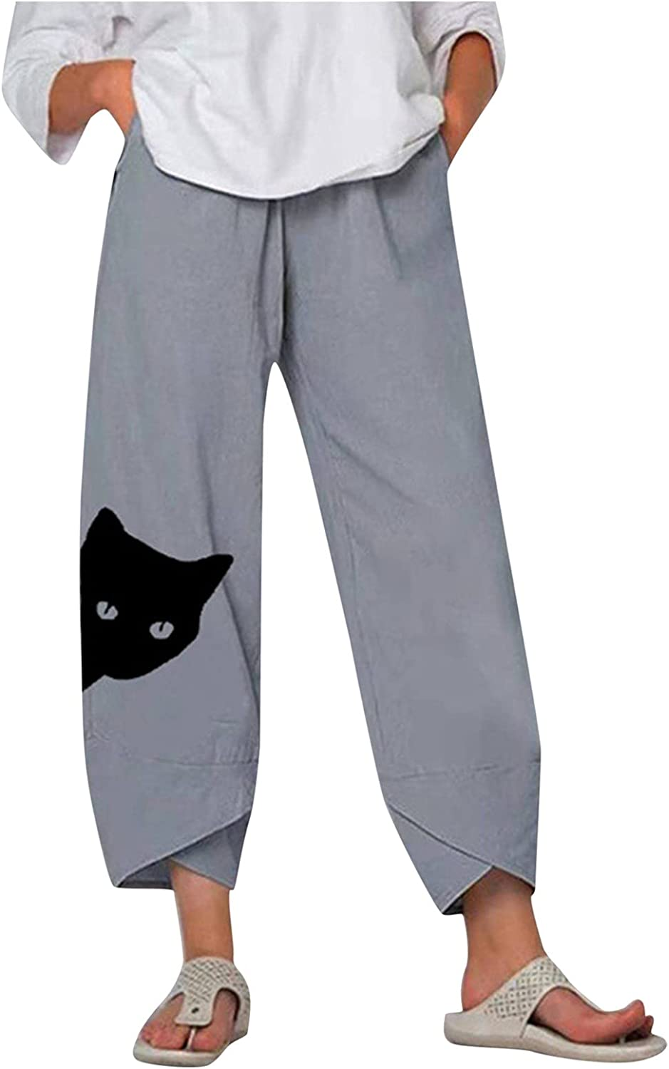 Women's Cat Print Casual Linen Wide Leg Pants Baggy Tapered Cropped Pants Elastic Waist Trousers w/Pockets