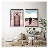 LTGBQNM Nordic Modern Wall Art Fotos Marruecos Pósteres Impresiones Fuente del Desierto Póster Islam Lienzo Pintura Diseño Sala de Estar Decoración para el hogar 20x28inchx2 Sin Marco