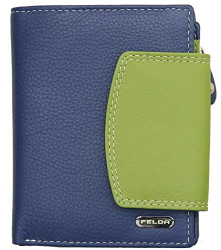 Felda - Damen Geldbörse aus Echtleder - Kartenfächer & Münzfach - RFID-Blocker - Dunkelblau Metallic Mehrfarbig