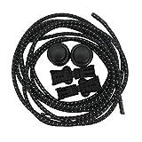 LUOEM Elastische Sport Schnürsenkel Schnellschnürsystem mit Schnellverschluss Reflektierende für Laufen Training Wandern Klettern Jogging 1 Paar (Schwarz) -