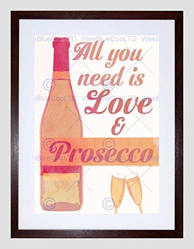 Wee Blauw Coo Quote Type Tekst Grafische Liefde Prosecco Flesje Fizz Ingelijste Muur Art Print