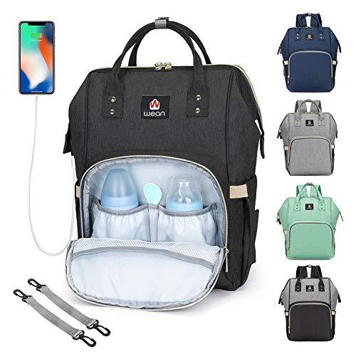 Zaino Mamma Multifunzione Neonato Borsa Pannolini da Viaggio Fasciatoio Bambino Impermeabile Grande Capacità con Tasche Isolanti Bottiglie, 2 Ganci di