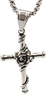 Fashion Fit for Mens Stainless Steel Rose Cross Pendant Necklace