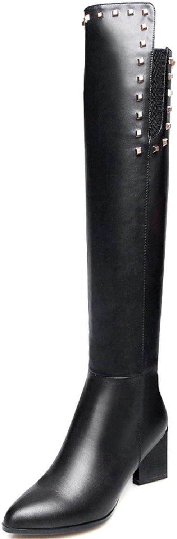 Nine Seven Genuine Leather Women's Pointed Toe Chunky Heel Zipper Handmade Studded Knee High Boots