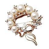Joyas con botones en el pecho GCX- Broche Pin Hebilla Dos a Juego de Moda imitación Perla Arco Simple Bufanda Hebilla Mujer azafata Cardigan Hebilla Hermosa (Color : White, Size : 4.5 * 5.5cm)