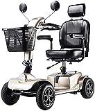 Silla de ruedas eléctrica / Ligero y compacto, plegable, 4 de alimentación de la rueda de traslación eléctrico y Scooter, 42cm ancho de los asientos, que puede abrirse en la barandilla, freno electrom