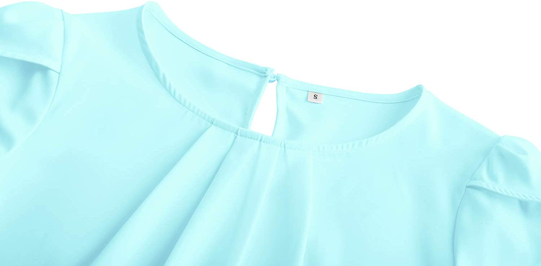 TASAMO Women's Casual Round Neck Basic Pleated Top Cap Sleeve Curved Keyhole Back Chiffon Blouse