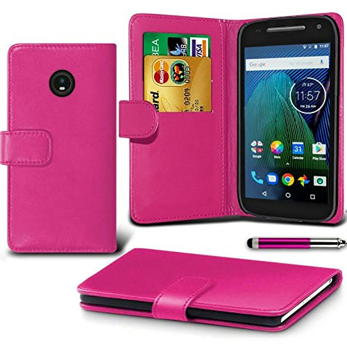 DN-Technology Moto G5 Case Moto G5 Leather Case 2017 Model [5.2 Inch Display] Moto G5 Cover, Premium Leather Wallet [With Card Holder] Case for MOTO G5 (PINK)