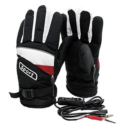 PsmGoods® Motorrad-Motorrad Beheizte Handschuhe 12V wasserdicht Frostschutz Schwarz