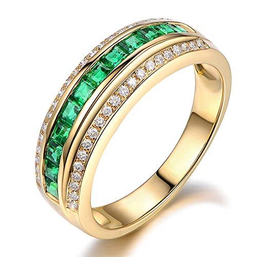 Elegante Moda Naturales Esmeralda Piedra preciosa Princesa Sólido 14K Oro amarillo Boda Promesa Esmeralda Diamante Anillo Conjuntos para Mujer