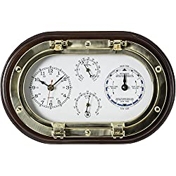 Bey-Berk SQB579 Lacquered Brass Oval Porthole Quartz Tide and Time Clocks, Thermometer and Hygrometer on Mahogany Wood, Black