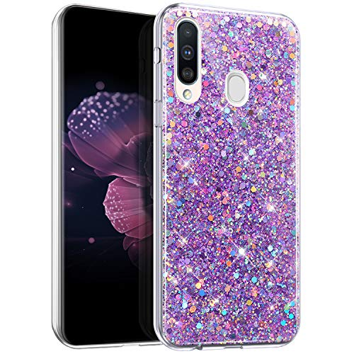 Glitzer Hülle für Samsung Galaxy A20S Hülle Silikon Glänzend Bling Glitzer Handyhülle Ultra dünn Transparent Silikon TPU Schutzhülle Durchsichtig Bumper Case für Galaxy A20S,Lila