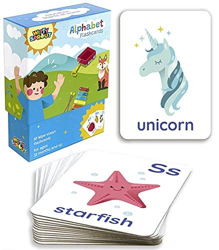 Witty Sprout Cartas Alfabeto Tarjetas Didácticas de Abecedario Niños Primeras Palabras Bebés Barajas Educativas en Inglés Montessori English Alphabet Flashcards