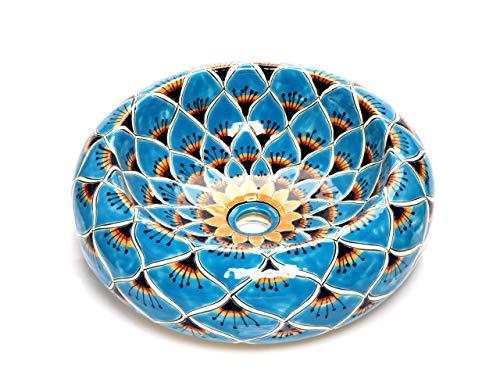 Azura - Mexicaanse ronde opzetwastafel | 40 cm keramiek Talavera wastafel uit Mexico | Kleurrijke decoratieve motieven | Ideaal voor de badkamer met houten look tegels, cementtegels, rustieke onderkast