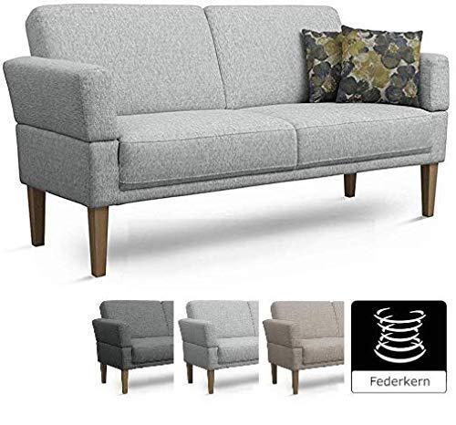 Cavadore 3-Sitzer Sofa Femarn mit Federkern / Küchensofa für Esszimmer oder Küche / 190 x 98 x 81 / Strukturstoff Hellgrau