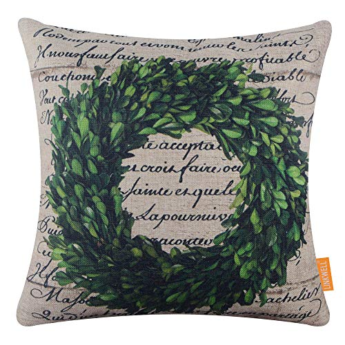 LINKWELL Vintage Christmas Wreath Pillow Cover 18x18 inch Xmas Decorative Cushion Case for Sofa Bedroom Car Couch CC1753