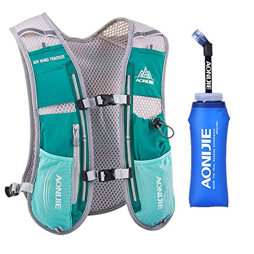 Lovtour Premium Running Race Hydration Vest Pack for Marathon, Cycling, Hiking with 20 Oz(600ml) BPA-Free TPU Soft Water Bottle As Gift (Mint Green)