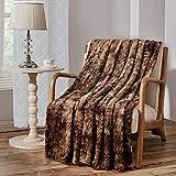 Faux Fur Throw Blanket, Luxury Soft Plush Shaggy Fleece Blanket, Machine Washable, Brown, 90'×90'