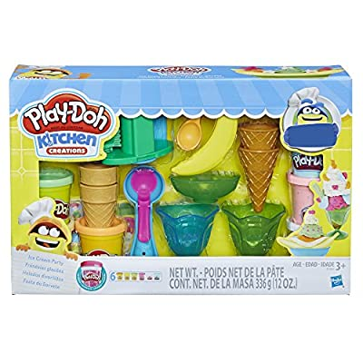 Play-Doh Kitchen Creations Ice Cream Party Play Food Set with 6 Non-Toxic Colors, 2 Oz Cans (Amazon Exclusive),Brown from Hasbro