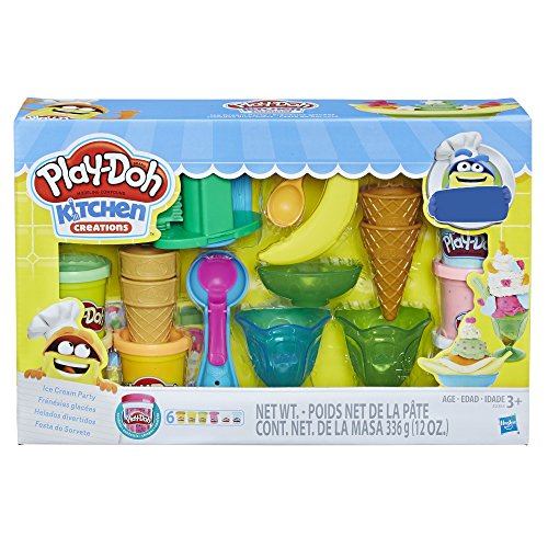 Play-Doh Kitchen Creations Ice Cream Party Play Food Set with 6 Non-Toxic Colors, 2 Oz Cans (Amazon Exclusive),Brown