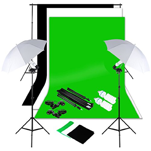 Excelvan Photography Lighting Kit 10x6.5FT 1250W Daylight Umbrella and...